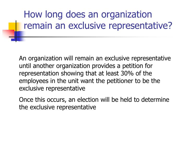 How long does an organization remain an exclusive representative?
