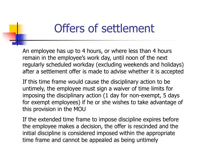 Offers of settlement