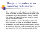 things to remember when evaluating performance