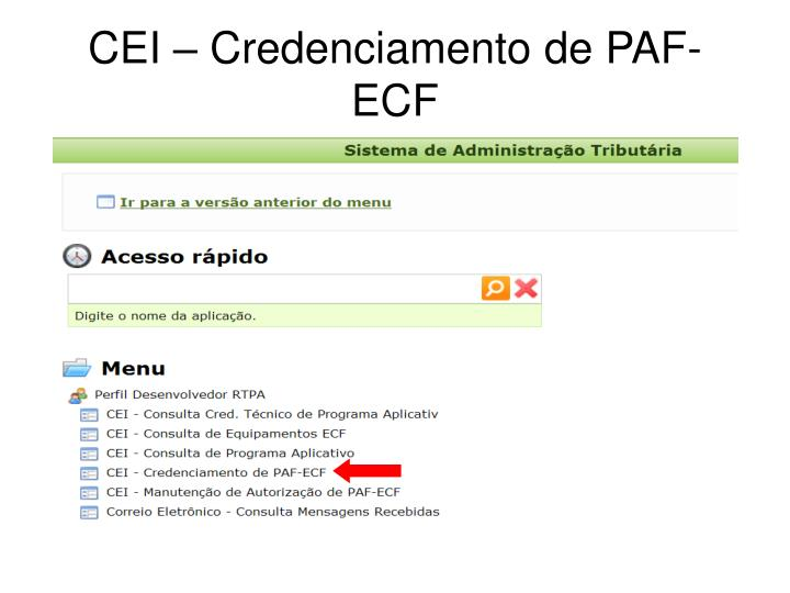 CEI – Credenciamento de PAF-ECF