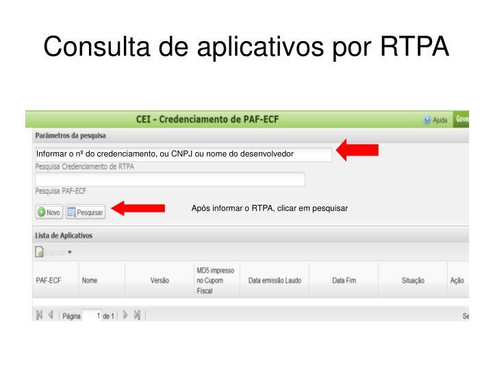 Consulta de aplicativos por RTPA
