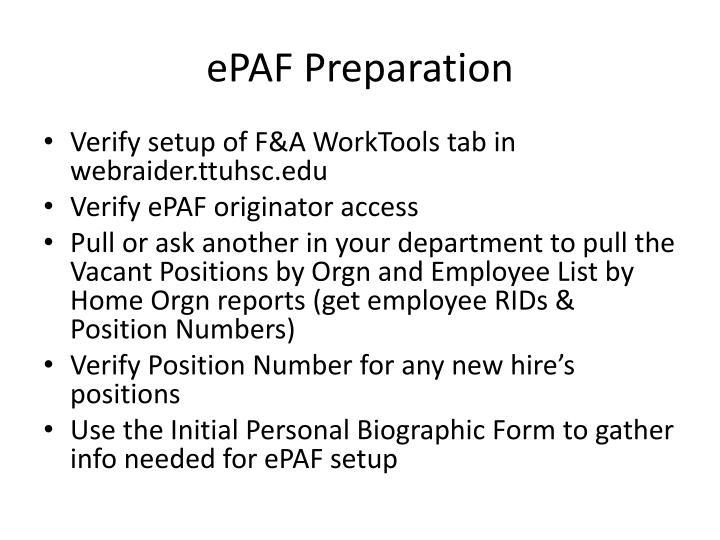 ePAF Preparation