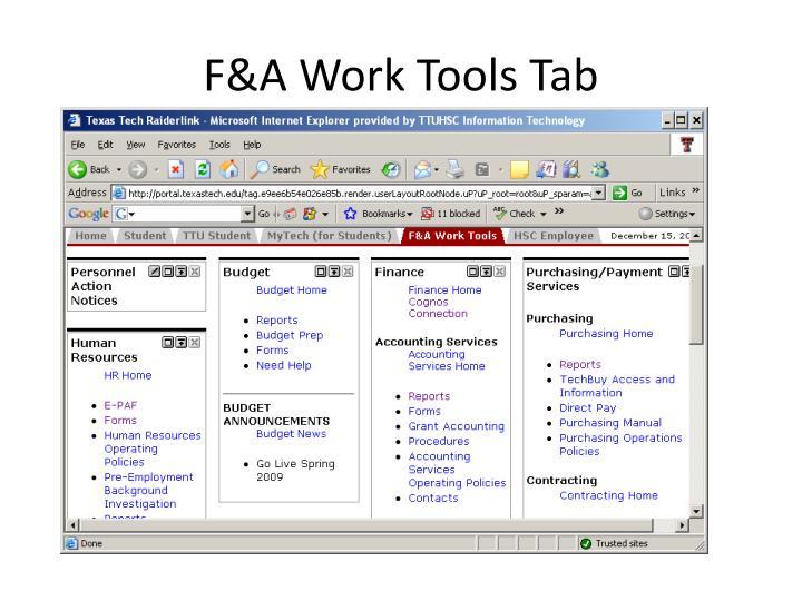 F&A Work Tools Tab
