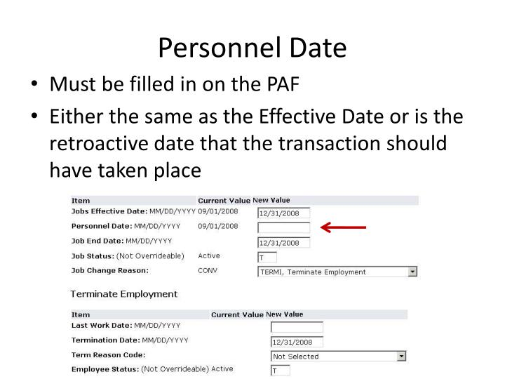 Personnel Date