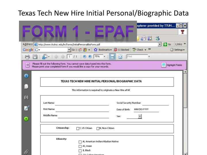 Texas Tech New Hire Initial Personal/Biographic Data