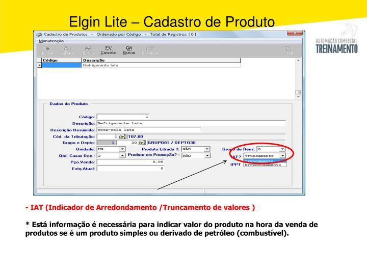 Elgin Lite – Cadastro de Produto