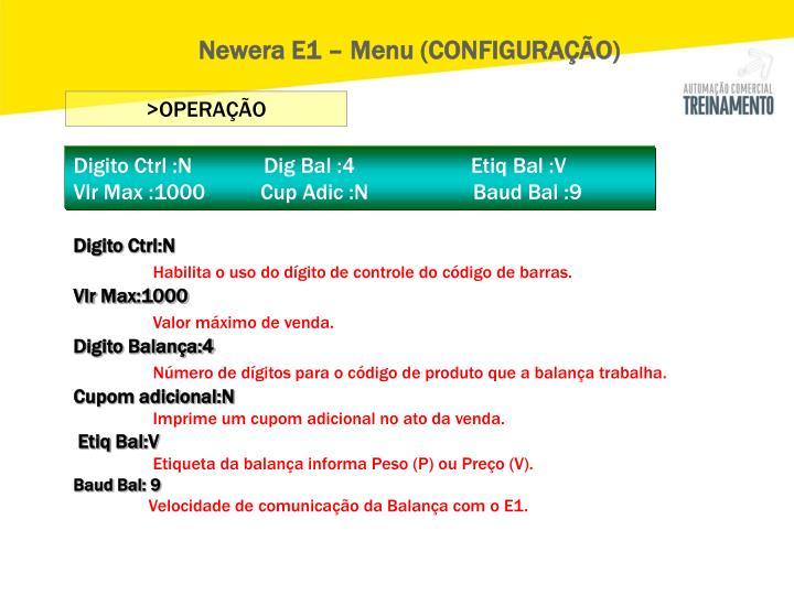 Newera E1 – Menu (CONFIGURAÇÃO)