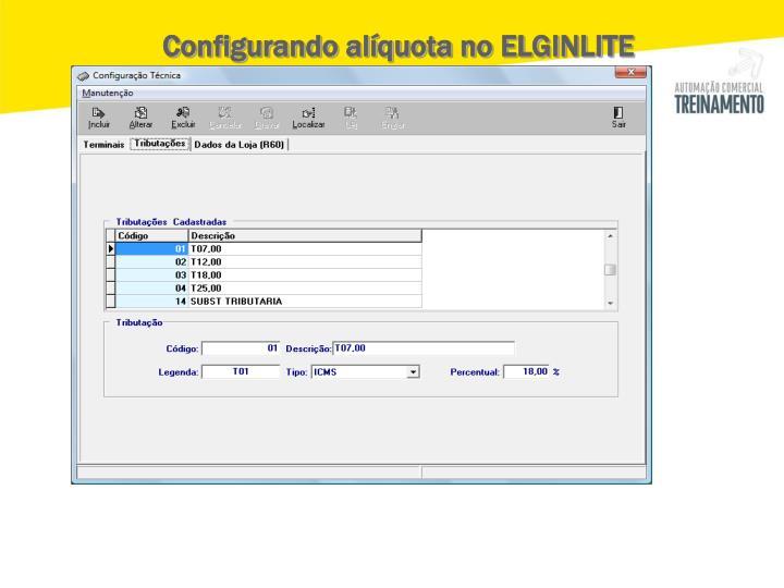 Configurando alíquota no ELGINLITE