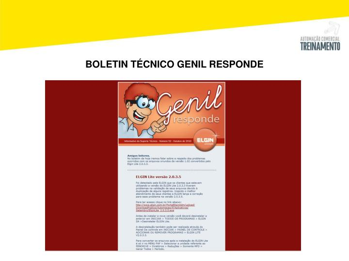 BOLETIN TÉCNICO GENIL RESPONDE