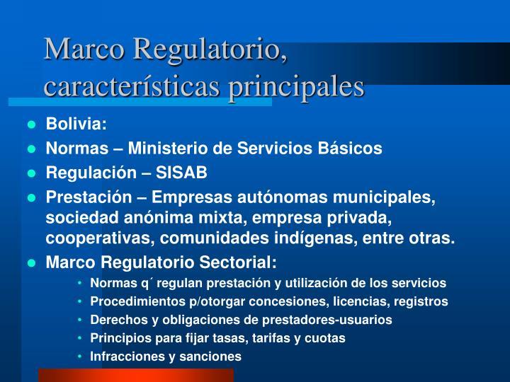 Marco Regulatorio, características principales
