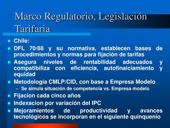 Marco Regulatorio, Legislación Tarifaria