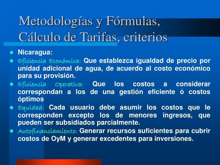 Metodologías y Fórmulas, Cálculo de Tarifas, criterios