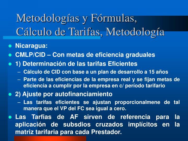 Metodologías y Fórmulas, Cálculo de Tarifas, Metodología