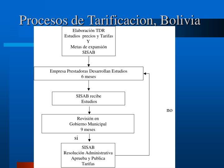 Procesos de Tarificacion, Bolivia
