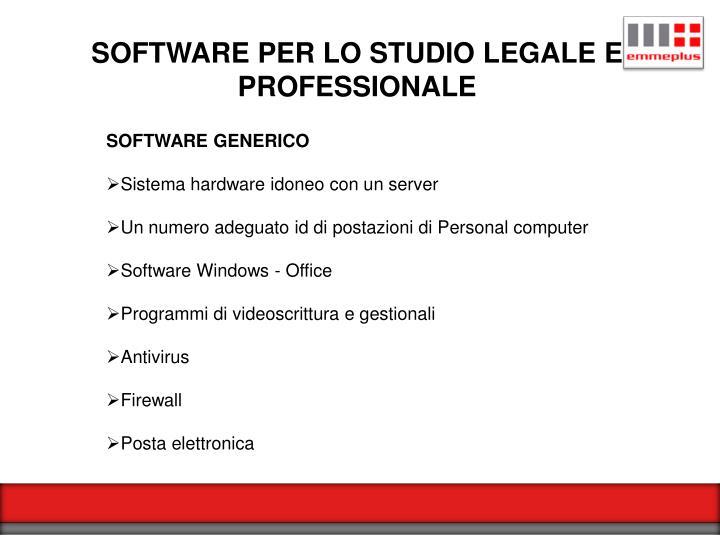 SOFTWARE PER LO STUDIO LEGALE E PROFESSIONALE