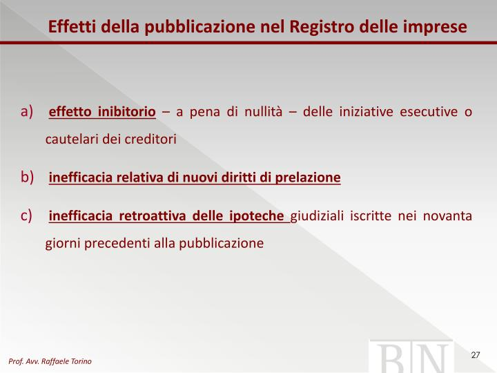 Effetti della pubblicazione nel Registro delle imprese