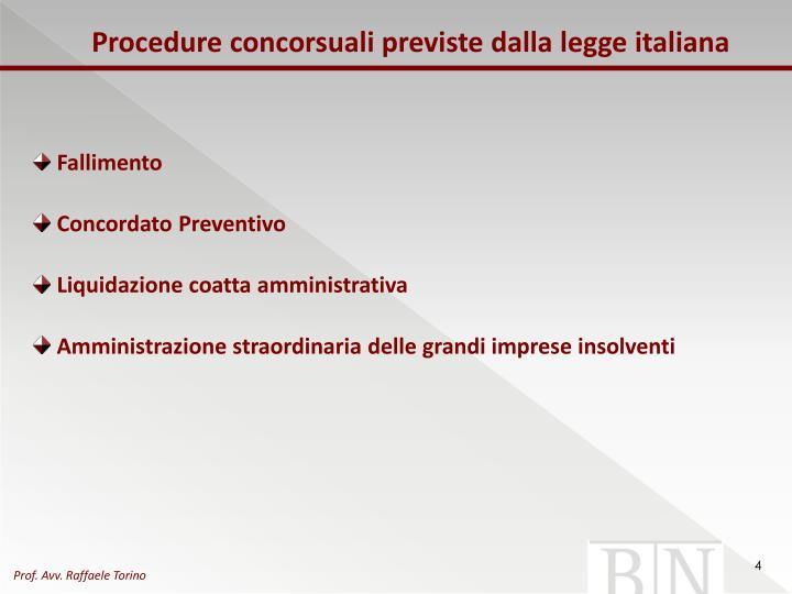 Procedure concorsuali previste dalla legge italiana