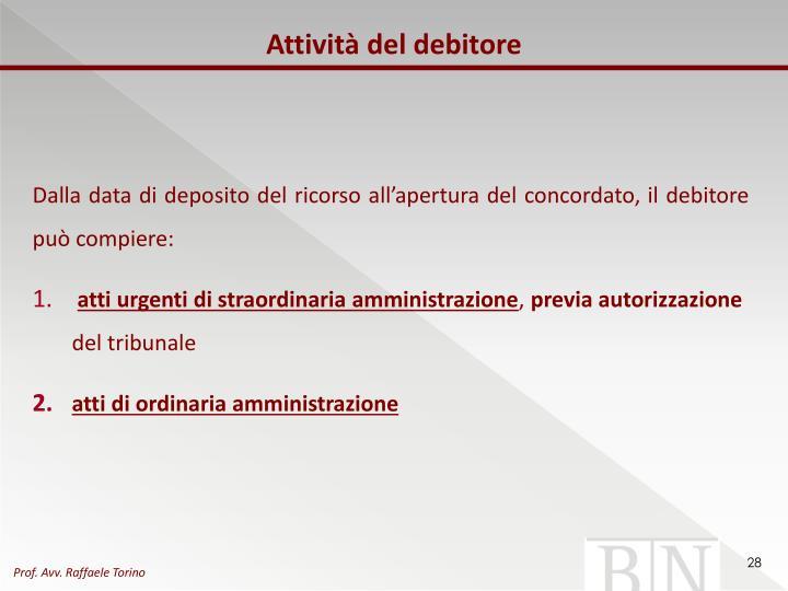 Attività del debitore