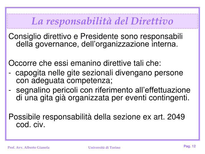 La responsabilità del Direttivo