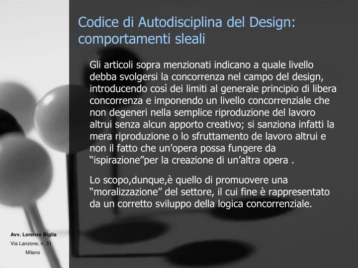 Codice di Autodisciplina del Design: comportamenti sleali