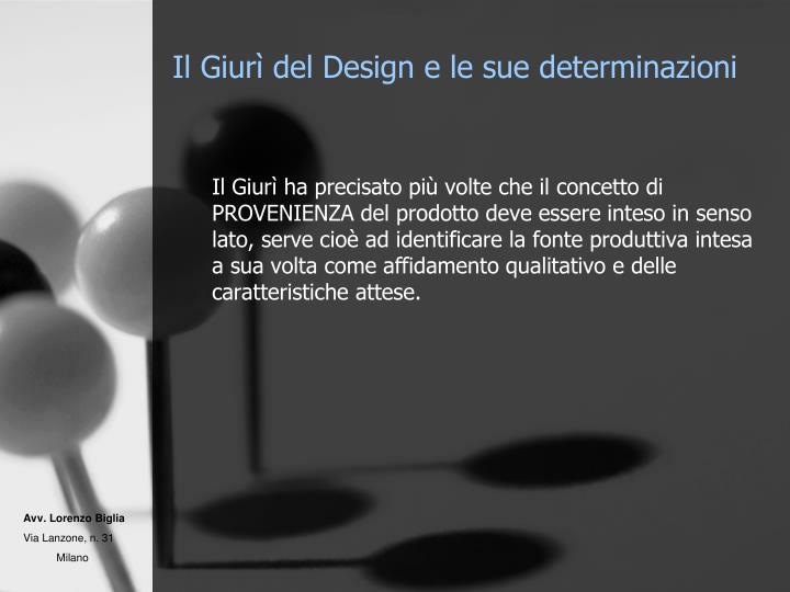 Il Giurì del Design e le sue determinazioni