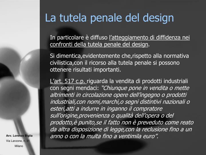 La tutela penale del design
