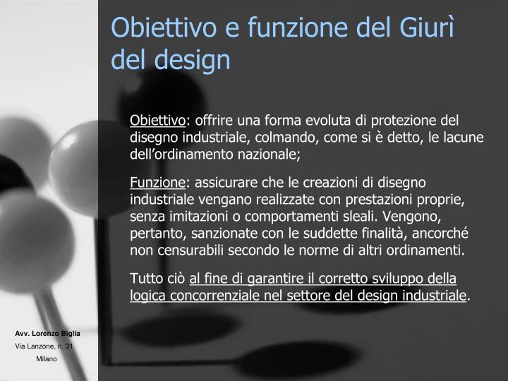 Obiettivo e funzione del Giurì del design