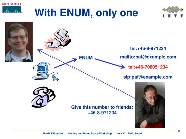 With ENUM, only one