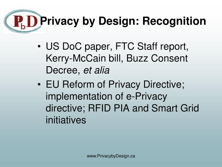 Privacy by Design: Recognition