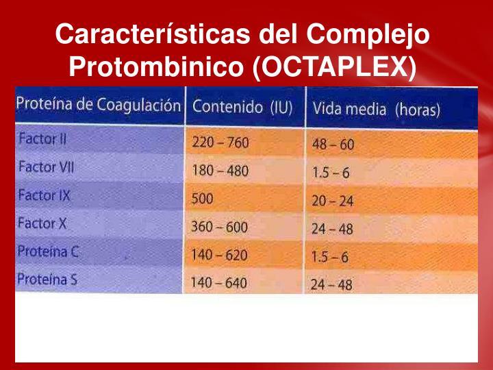 Características del Complejo Protombinico (OCTAPLEX)