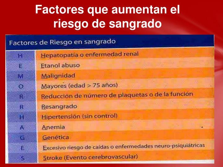 Factores que aumentan el riesgo de sangrado