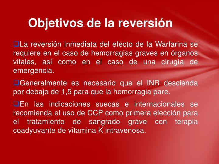 Objetivos de la reversión
