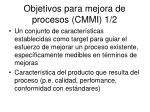 objetivos para mejora de procesos cmmi 1 2