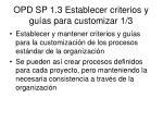 opd sp 1 3 establecer criterios y gu as para customizar 1 3