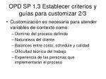 opd sp 1 3 establecer criterios y gu as para customizar 2 3