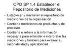 opd sp 1 4 establecer el repositorio de mediciones