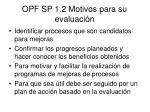 opf sp 1 2 motivos para su evaluaci n