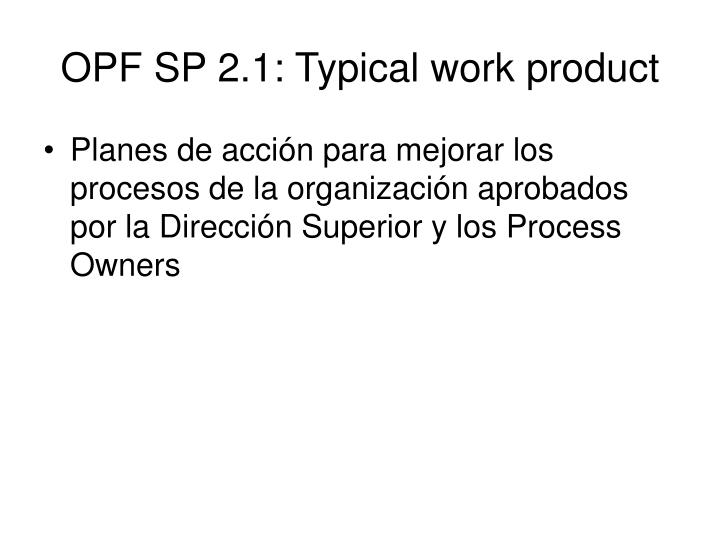 OPF SP 2.1: Typical work product