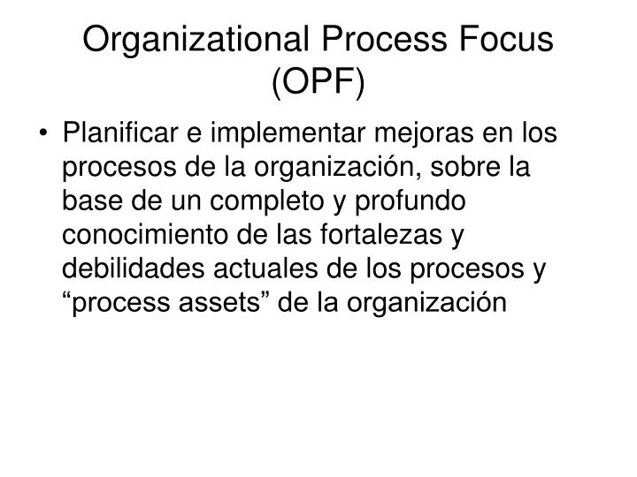 Organizational Process Focus (OPF)