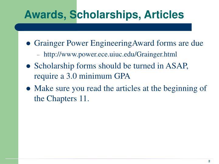 Awards, Scholarships, Articles