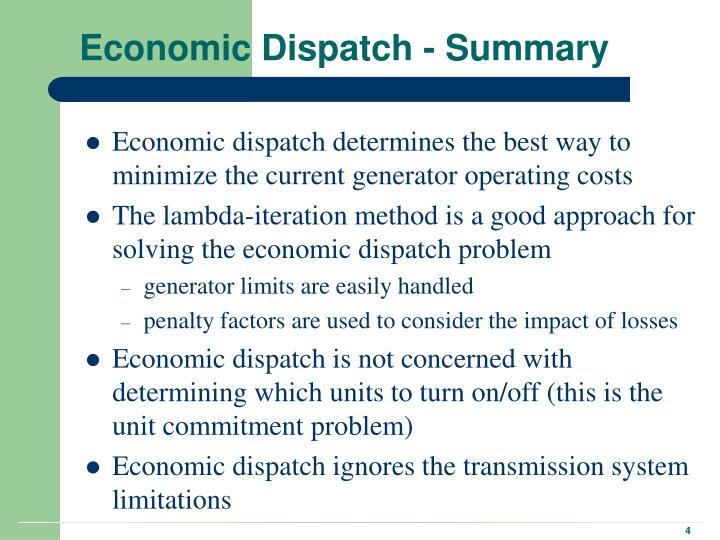 Economic Dispatch - Summary