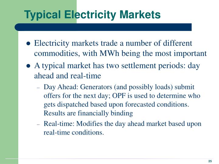 Typical Electricity Markets