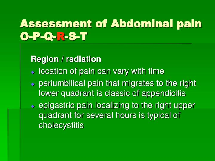 Assessment of Abdominal pain