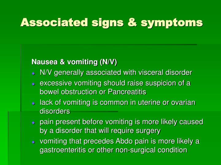 Associated signs & symptoms