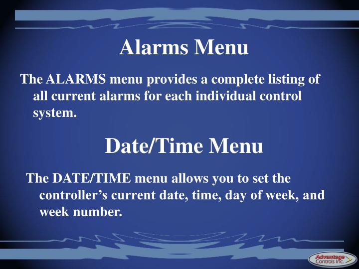 Alarms Menu