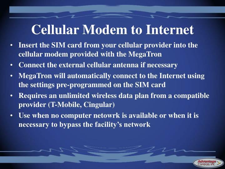 Cellular Modem to Internet