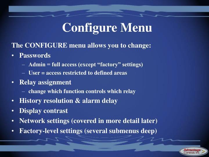 Configure Menu