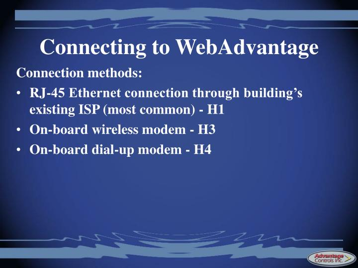 Connecting to WebAdvantage