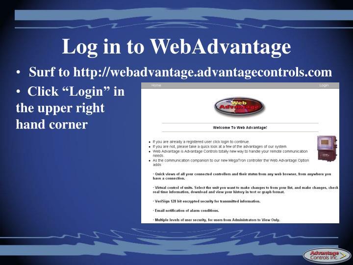 Log in to WebAdvantage