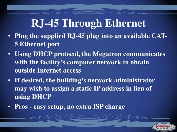 RJ-45 Through Ethernet